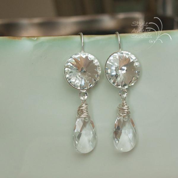 crystal bridal earrings, custom
