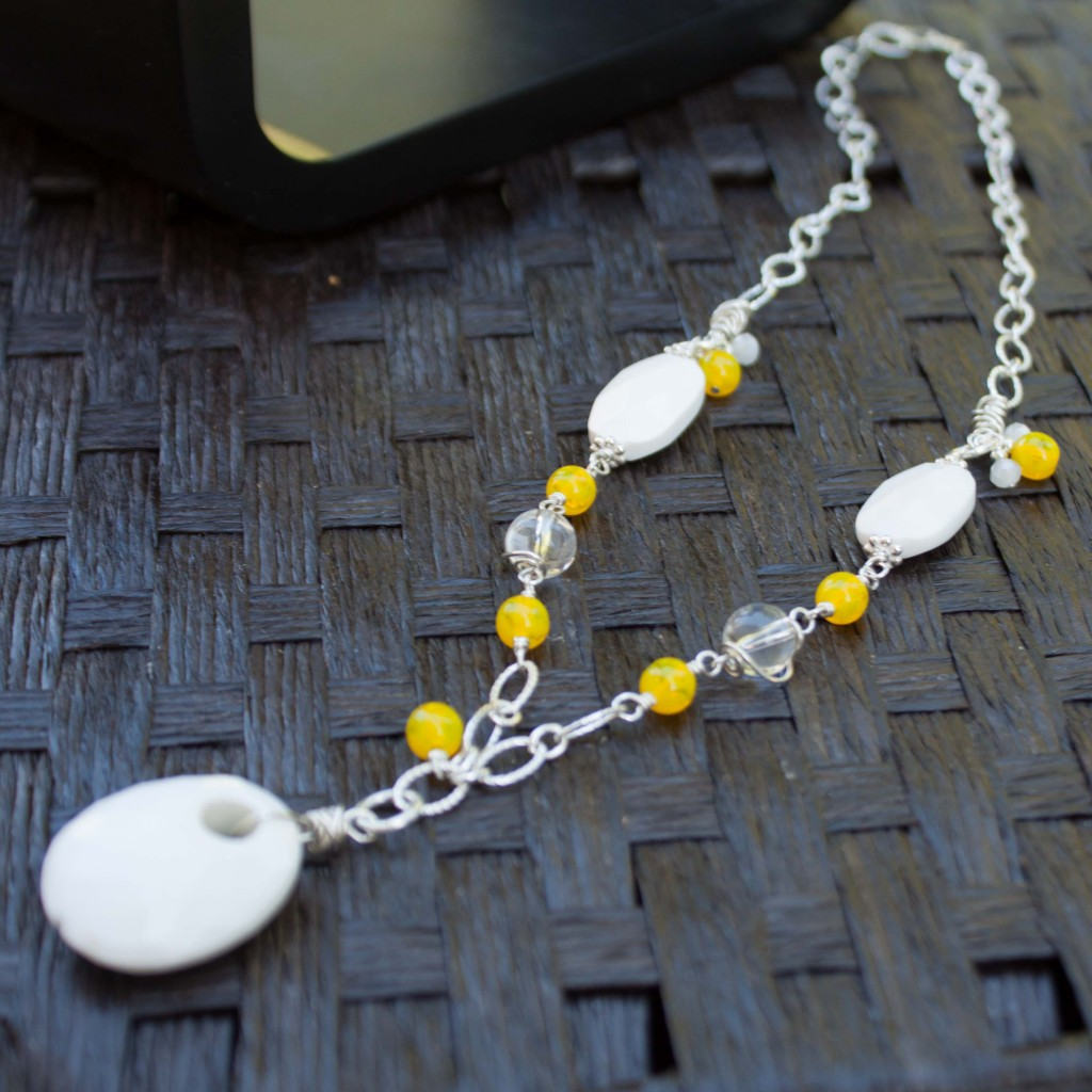 Yellow and white necklace