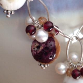 spiny oyster, pearls, garnet, swarovski crystal