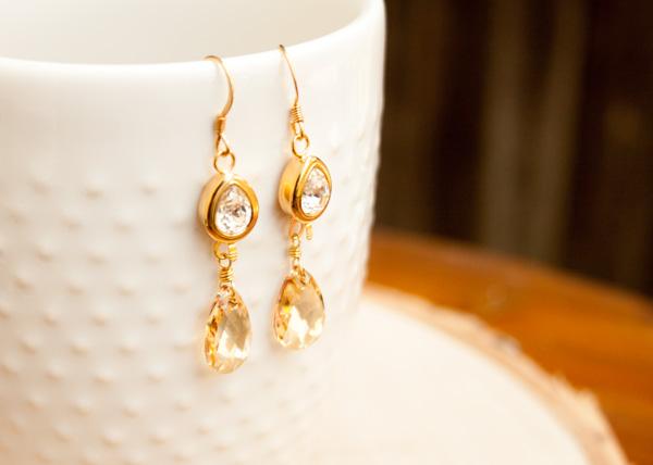 Gold Crystal Bridal Earrings
