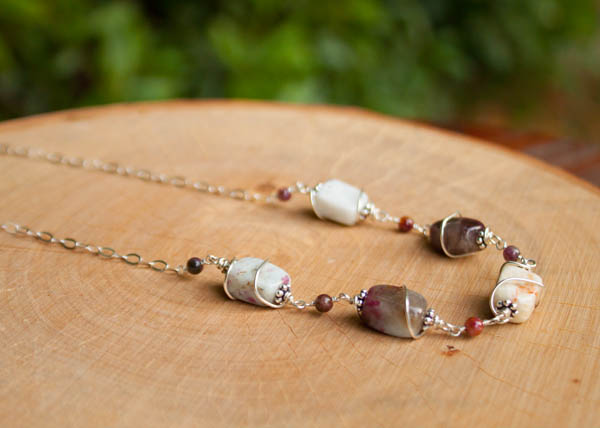 Tourmaline and garnet necklace