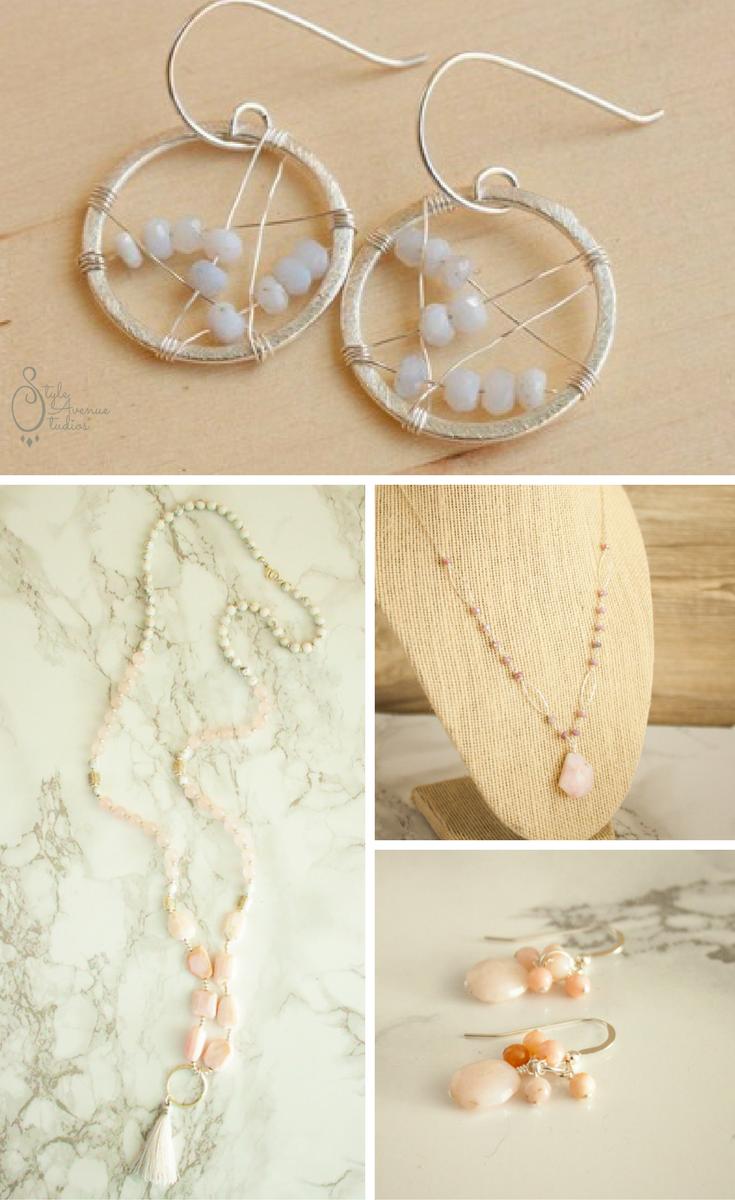 Handmade Opal Necklace Opal Earrings
