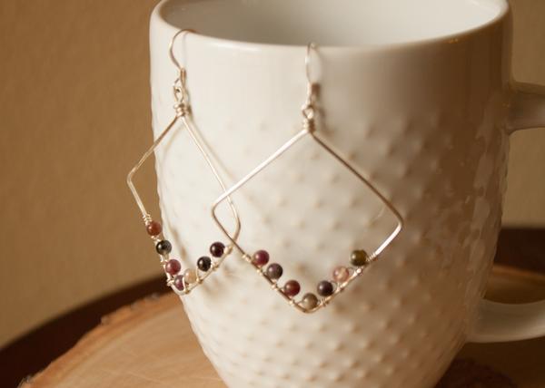 Boho tourmaline earrings