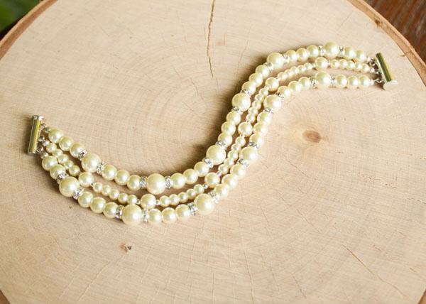 Pearl Bridal bracelet 3 strand