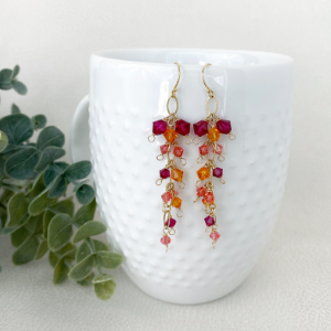 Colorful cluster earrings